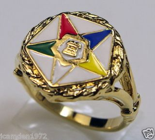 Masonic OES Order of the Eastern Star RING 18K Gold Overlay size 11
