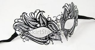 Venetian Mask Masquerade Costume BLACK NEW Fancy Dress Crystals Cat