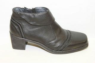 Josef Seibel Black Leather Ankle High Leather Boots Sz 37/42 NWOB $130