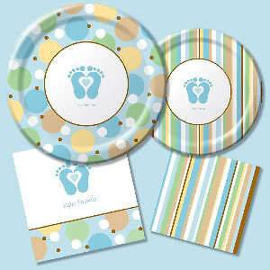 Tiny Toes Feet Boys Blue Baby Shower Plates & Napkins