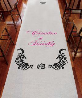 Personalized Wedding Ceremony Decoration LOVE BIRD DAMASK White Aisle