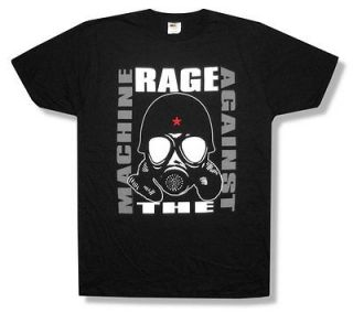 RAGE AGAINST THE MACHINE   GAS MASK BLACK T SHIRT   NEW ADULT MEDIUM
