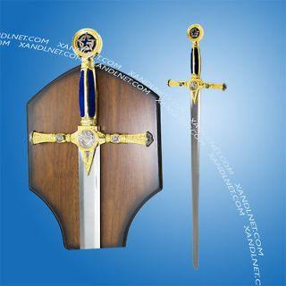 45 Masonic Medieval Templar Knight Sword Blue Handle