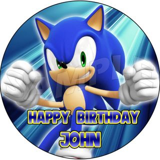the Hedgehog Custom Personalized Round Edible Cake Image Topper 7.5 A