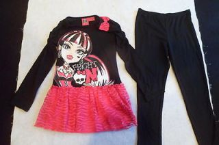 MONSTER HIGH DOLL Fright On Shirt & Pants Set GIRLS SIZE MEDIUM 7/8
