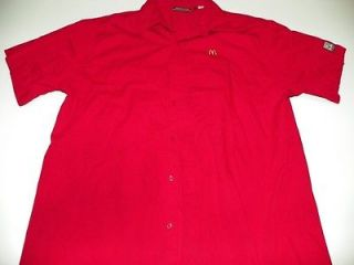 McDonalds Red Uniform Costume Shirt L Large Cotton Poly