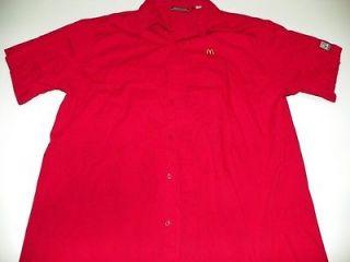 McDonalds Red Uniform Costume Shirt L Large Cotton Poly