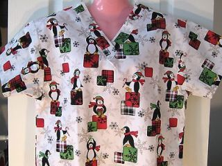 NEW Nursing Medical Scrubs Top Christmas Penguin Bearing Gifts White X