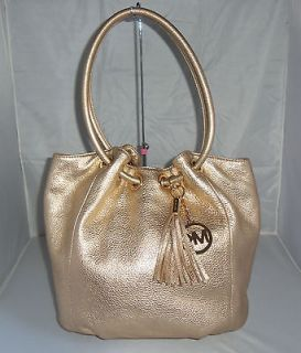 MICHAEL KORS Gold LEATHER RING TOTE BAG, HANDBAG, SHOULDER BAG, PURSE