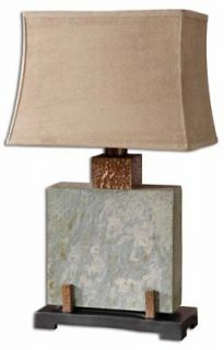 Square Slate Stone Table Lamp Hammered Copper Accents