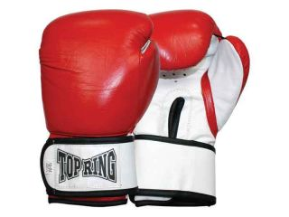 Newly listed PRO TOP RING Leather Training Boxing Gloves Red 12oz