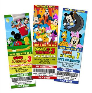 MICKEY MOUSE CLUBHOUSE DISNEY BIRTHDAY PARTY INVITATION TICKET FIRST