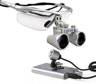 5x Dental Surgical Binocular Loupes + LED Dental Head Light lamp