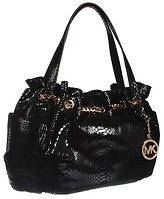 MICHAEL KORS BLACK PYTHON LEATHER JET SET CHAIN RING TOTE PURSE