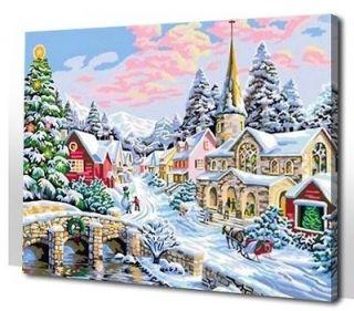 Vtg paint by numbers 16*20 kit DIY painting Merry Christmas Home