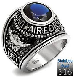 Simulated Blue Sapphire CZ US Air Force Military Stainless Steel Ring
