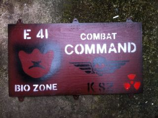 COMBAT COMMAND SIGN warning mines nuclear war airsoft bunker doom cod