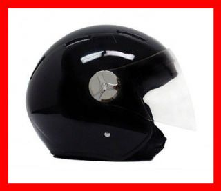 Motorcycle JET PILOT Open Face Helmet DOT   Black Glossy Finish LARGE