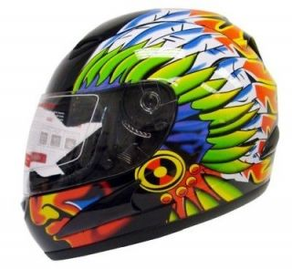 FULL FACE MOTORCYCLE SPORT BIKE HELMET INDIAN CHIEF ~XL