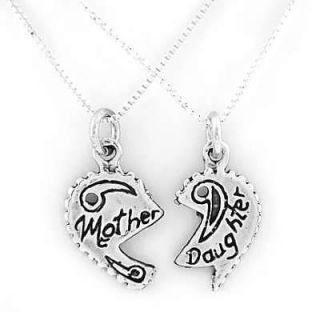 SILVER MOTHER DAUGHTER CHARM 2 16 BOX CHAIN NECKLACES