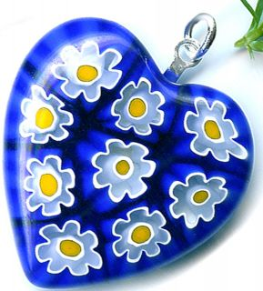 Murano Mosaic Heart Love Pendant Blue Yellow Forget Me Not Free