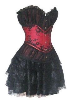 Showgirl Black Red Satin Lace Corset Dress Moulin Rouge Skirt