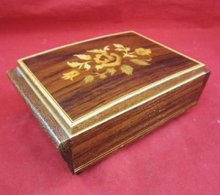 Musical Movement MUSIC BOX EDELWEISS WOOD Inlay Floral ITALY Flower