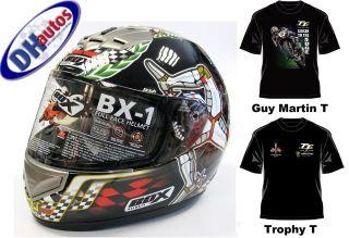 Box Isle Of Man TT Motorcycle Motorbike Helmet +Free I.O.M TShirt Of