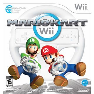 Mario Kart Wii with 2 Wii White Wheels