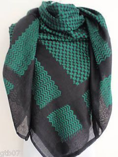 Black Green Arab Shemagh Head Scarf Neck Wrap Authentic Cottton