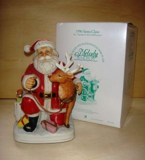 Motion Music Box 1996 Santa Claus & Rudolph #07208 Signed Orig Box