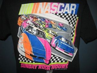 vintage 80s NASCAR SUNDAY RUSH HOURS T Shirt MEDIUM/LARGE neon racing
