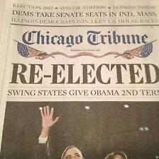 PRESIDENT OBAMA 2008 & 2012 CHICAGO TRIBUNE NEWSPAPERS