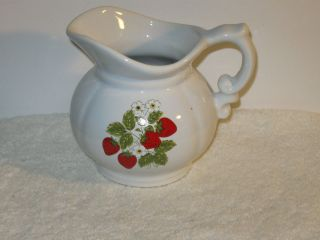 Vintage McCoy Pitcher With Strawberry Inlay Design Stamped #7528