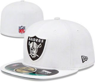 Oakland Raiders White New Era On Field Sideline Cap 5950 Fitted Hat