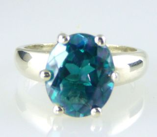 Oval Genuine, Natural Tahitian Blue Topaz Ring .925 SS Silver 6.00CTW