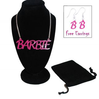 Pink Barbie Name Necklace & Free Matching Earrings