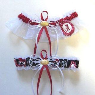 Wedding Garters w Alabama Crimson Tide fabric   Bama