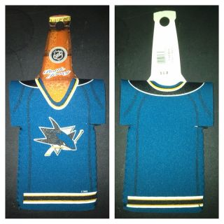 San Jose Sharks Bottle Jersey Beer Koozie SJ Hockey NHL Booze Drinking