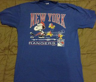 VINTAGE New York Rangers Schulz Peanuts Snoopy NHL shirt LARGE RARE