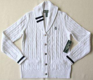 New Ralph Lauren Women Shawl Knit Logo Cardigan Sweater White M