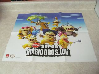 Nintendo Wii New Super Mario Bros Poster 18 1/2 x 21 Video Game