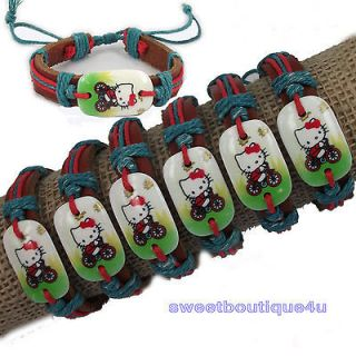 6pcs Lovely Hellokitty Cat Bicycle Hemp Genuine Leather bracelet For