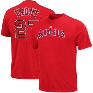 Mike Trout Los Angeles Angels of Anaheim #27 Player T Shirt   Red