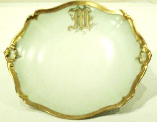 Antique French Limoges Porcelain China Dish Plate Gilt Gold Louis XIV