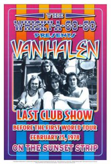 David Lee Roth & Van Halen at the Whisky A Go Go Concert Poster Circa