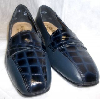 Navy Blue Leather & Patent Womens Dress Shoes 1¼heel Pumps Size 8½