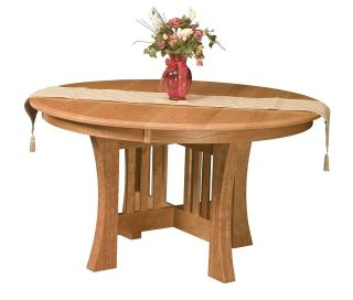 Wood Round Dining Table Pedestal Mission Extending Leaf Oak Natural
