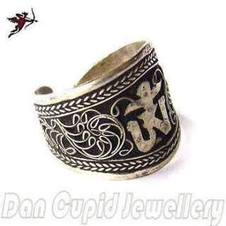 Tibetan Silver ring OM AUM open size ethnic Buddhist