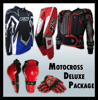 MX Motocross Youth Jersey+Pants+G​loves+Armour*R​ED* Dirt Bike